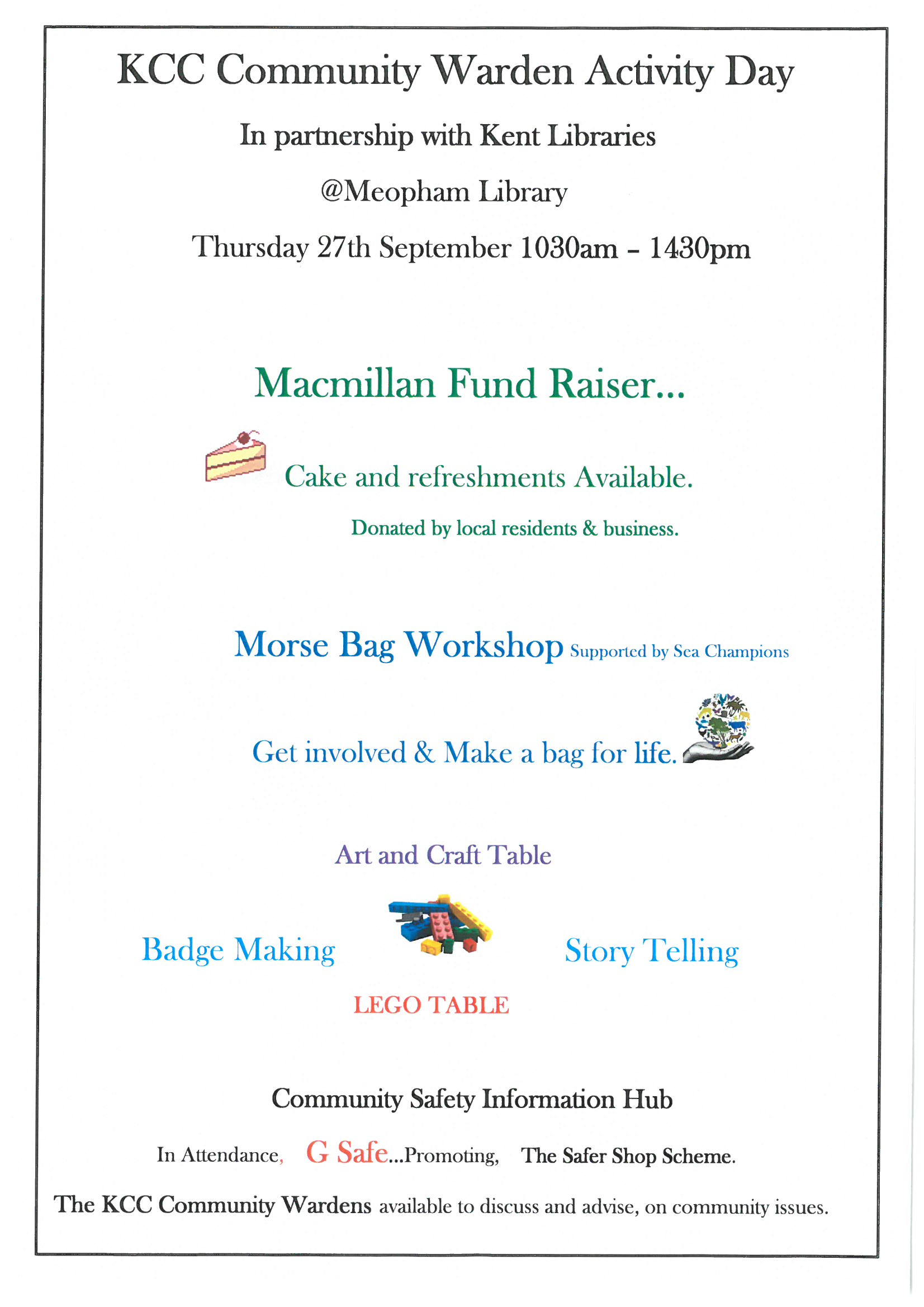 Meopham Library - Activity Day on 27 September 10:30am to 2